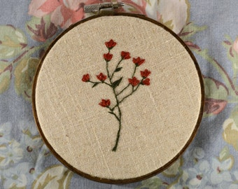 Botanical sprig crimson floral embroidery art | rustic modern home decor | gift for her | delicate hand embroidered flowers