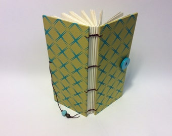 """Mustard and Turquoise Skinny Button Book  3"""" X 7"""""""