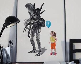 Alien film poster, Aliens 3 art print, Sci Fi art poster, Sci Fi film art, Nerd art, Alien print, Aliens film fan, instant download art