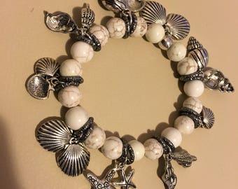 White howlite bracelet & charms
