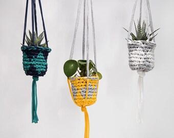 Indoor plant hanger, hanging planter, crochet plant hanger, yellow and grey decor, houseplant hanger, succulents, indoor planter, macrame
