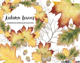 Watercolor Autumn Leaves Clipart Collection,Fall Wreath,Leaf,Branch,Acorn Clipart,Scrapbooking Clipart,Cardmaking Clipart, png file