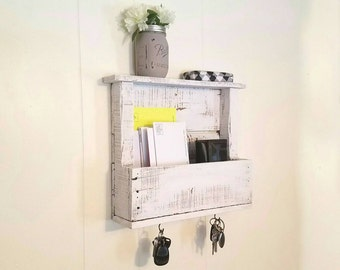 Entryway Organizer, Mail Storage, Key Hooks, Wall Organization