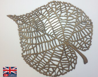 Wooden Wall Sculpture - Leaf Birch Ply Wood Free UK Shipping