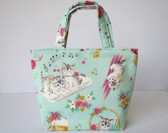 Girl's Bag, Mini Tote Bag, Kids Bag, Handbag for Girls, Cute Kitten Fabric, Musical Fabric, Cute Bag for Girls, Music Bag, Gift for Girls