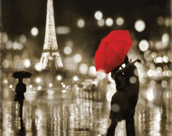 Eiffel Tower Print, Eiffel Tower Decor, Eiffel Tower Photo, Paris canvas art, Paris France, Romantic Wedding Anniversary Gift, A Paris Kiss