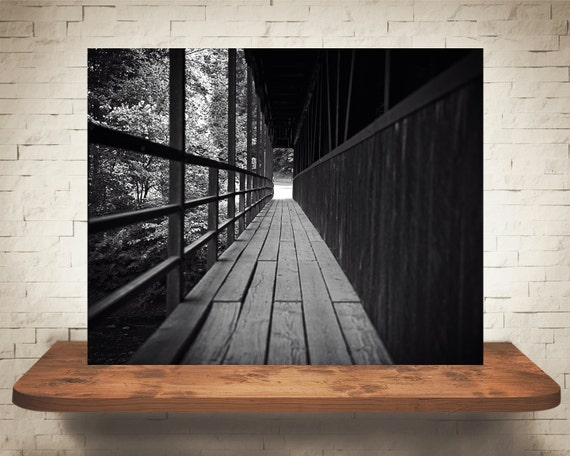 Crossing Wood Bridge Photograph - Black White Photography - Fine Art Print - Home Wall Decor - Wooden Bridges Pictures - Moody Photos - Gift