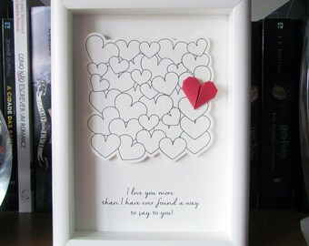 "Love, Wedding, Anniversary, Valentine's Day Gift 3D Shadow box Frame. ""I love you more than I..."" Surprise with a unique and original gift."