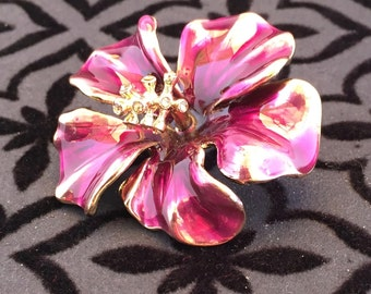 Vintage Floral Cloisonné Brooch, Magenta Brooch, 1980's Brooch, Flower Pin, Birthday Gift, Mother's Day Gift, Christmas Gift, Gift for Her