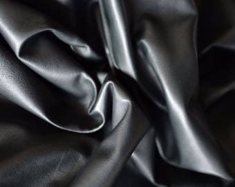 Graphite Natural Leather Italian Leather Hide  , 65cmx60cm , Thickness:0,6 mm , soft graphite Black , b851