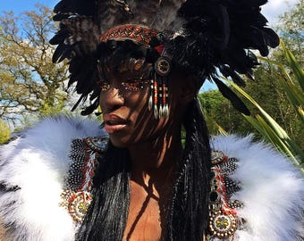Black and natural feather festival headdress, Burning Man festival headdress, festival feather headdress, Coachella festival headgear