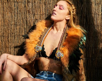 Black and natural feather tribal festival capelet, natural feather collar, festival feather capelet, Burning Man capelet, feather collar