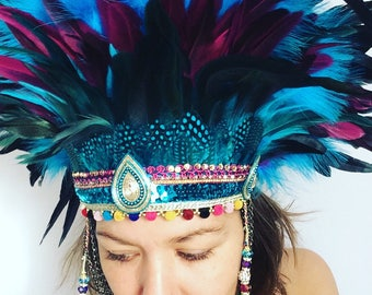 Turquoise festival feather headdress, Burning Man festival headdress, festival feather headdress, burning man crown, festival boho headdress