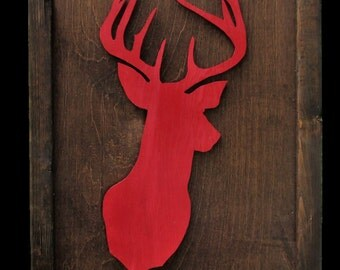 Framed Deer Head-Red and Special Walnut