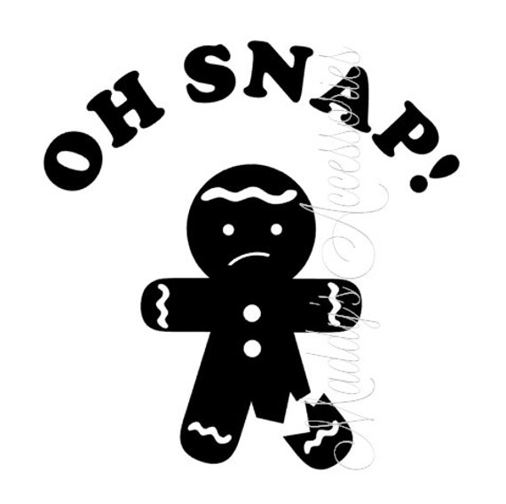 Iron on decal - Oh Snap - gingerbread - child clothing accessory