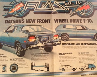 """1976 Datsun F10 Double Page vintage magazine ad Datsun Saves with great gas mileage """"Datsun Auto Group"""" (1704)"""