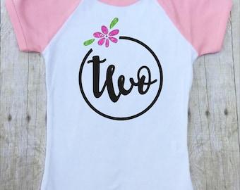 Girls Second Birthday Shirt-Second Birthday Shirt-2nd Birthday Shirt-Girls Birthday Shirt-Girls Pink Birthday Shirt-Pink Glitter-Photo Shirt