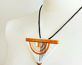 Vintage Jewelry, Art Deco Jewelry, Necklace Triangle, Necklace Geometric, Necklace Modern, Necklace White, Gift for Women