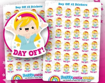 36 Cute Day Off #2 Planner Stickers, Filofax, Erin Condren, Happy Planner,  Kawaii, Cute Sticker, UK