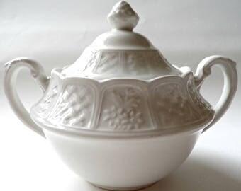Vintage sugar bowl, Royal Cauldon, Bristol Garden, made in England, white sugar bowl, shabby chic, vintage tableware, English tableware