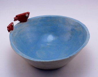 Handmade Ceramic Blue Bowl with Red Fish Features