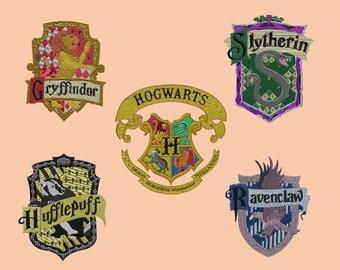 Embroidery design-Embroidery design-5 x 7 Hoop-Hogwarts Package (5 badges)-Hogwarts package (5 crests)