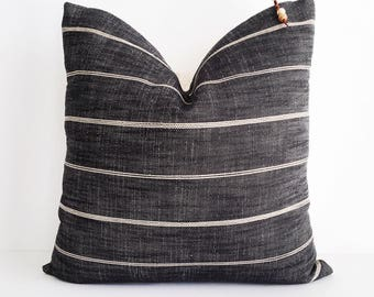 Black and cream embossed striped pillow cover 16x16
