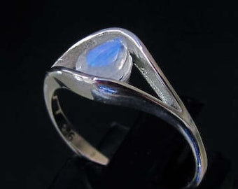 Sterling silver Blue Moonstone gemstone ring Diana