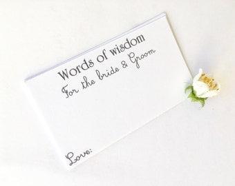 Words Of Wisdom Advice Cards Bride And Groom Wedding Stationary White