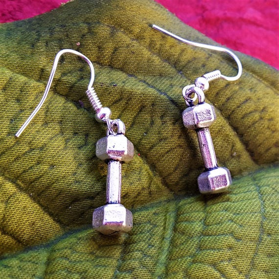 Dumbbell Earrings, Weightlifter Crossfit Jewelry, Bodybuilder Charm Earrings, Hand Weights Earrings, Fitness Jewelry Gifts, Gym Rat Workout