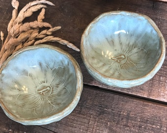 Handmade Bowls ~ Rustic Turquoise ~ Hand Drawn Flower ~ Snacks ~ Dessert Bowl ~ Rice Bowl