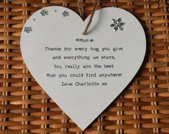 Mum Personalised Gift Keepsake Heart, Mom, Mam, Mother