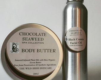Body Butter & Facial  Oil Gift Set. Chocolate Seaweed. The Spa Collection.  Made with Raw Organic Cocoa Butter. No water or preservatives .