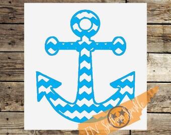 Chevron Anchor Decal | Nautical Decal | Vinyl Decal