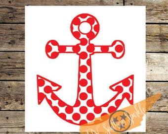Polka Dot Anchor | Nautical Decal | Vinyl Decal