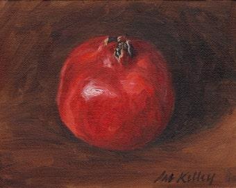 Pomegranate Study, Original Oil Painting, Still Life, Fruit, Contemporary Realism, Kitchen Art, 5x7, Affordable Art