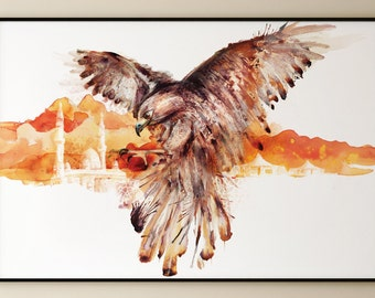 Falcon watercolor painting, bird of prey, eagle, desert, watercolour, wall art, poster print, illustration, ANY SIZE A4 A3 A2 or Custom Size