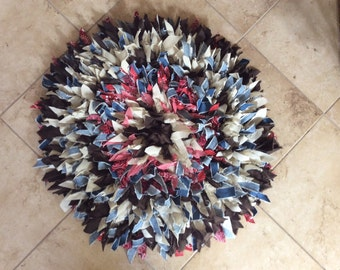 "27"" Round Crocheted Rag Rug"