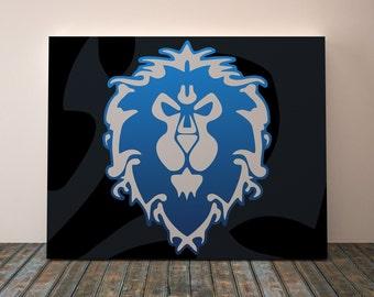 Alliance Warcraft, Canvas for boys room, World Of Warcraft Alliance, Alliance art, Wow art, Wow Alliance, Warcraft art, Warcraft decor