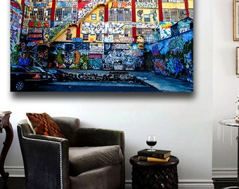 Graffiti on the 5Pointz building in Long Island Poster Print Wall Art 36 x 24