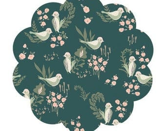 Organic cotton fabric supply. Feathered fellow lush print cotton fabric. Modern bird print fabric. Apparel/quilting cotton fabric. Sewing