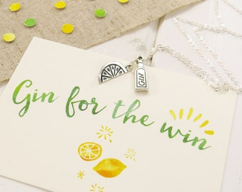 Gin for the Win Necklace - Silver Gin and Tonic Necklace - Gift for Her - Alcohol Jewellery - Friend Gift - Gift for Gin Lover
