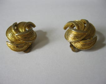 A Pair of Vintage  Gold Coloured Leaf Swirl Earrings