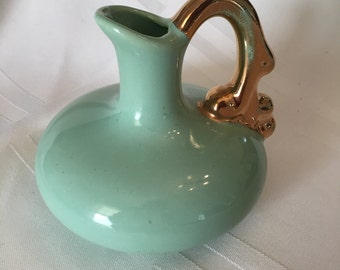 Green Pitcher with 22K gold Plated Handle - Small Gold Handled Mint Green Pitcher/Bud Vase - Art Deco Style Bud Vase or Small Pitcher