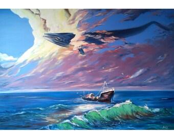 "Oil painting. surrealism ""Great Flight"""