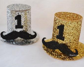 little man mustache hat, gentleman party hat, little man hat, mustache hat baby, glitter boy party hat,mustache top hat,little man party hat