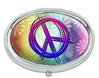 Hippie Peace Signs And Flowers Metal Oval Pill Case Box