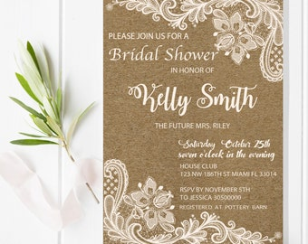 Digital file or Printed-Kraft and Lace Bridal Shower Invitation-Kraft Baby Shower-Lace Bridal Shower Invitation-Chic Rustic-Free Shipping