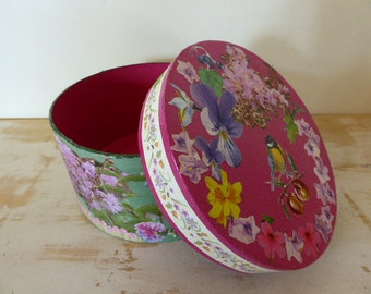 Vintage French Decoupage Storage Box, Home Decor, Floral Storage Carton, Craft Project Supplies
