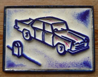 French Rubber Stamp on Metal Back, Ink Stamps, Car Design